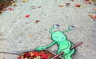 Cool street art. Green alien.