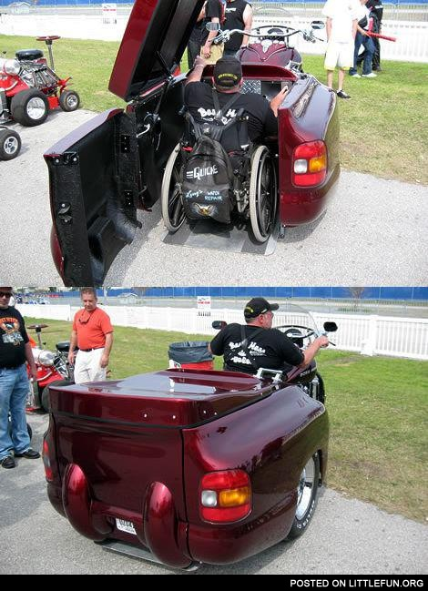 Boss Hoss trike for those on wheelchair