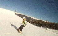 Snowboarding. Fantastic camera view