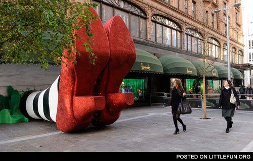 Giant red shoes