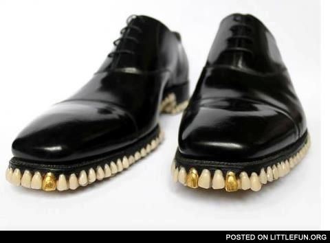 Shiny shoes with teeth