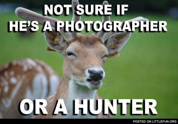 Not sure if he's a photographer or a hunter.