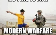 No, this is FIFA, Modern Warfare is that way.