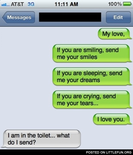 iPhone sms: My love