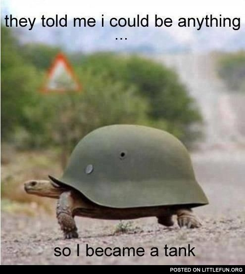 They told me I could be anything... So I became a tank.