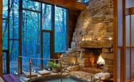 Fireplace hot tub
