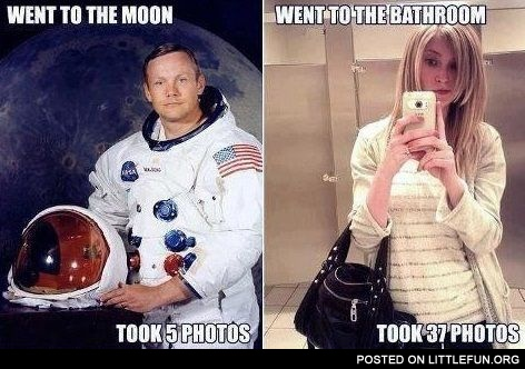 Went to the Moon, took 5 photos. Went to the bathroom, took 37 photos.