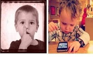 How children used to spend their time. Then and now. Child with mobile phone.