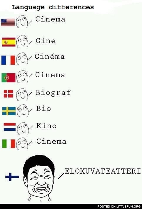 Cinema - language differences