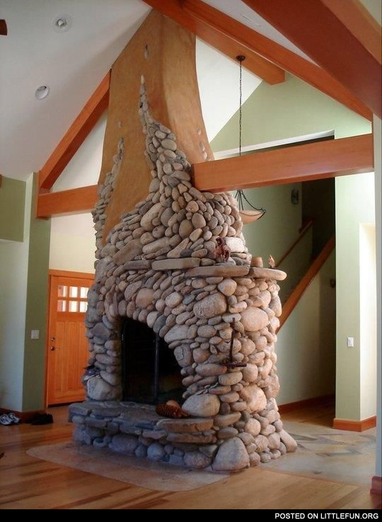 Interesting design of the fireplace