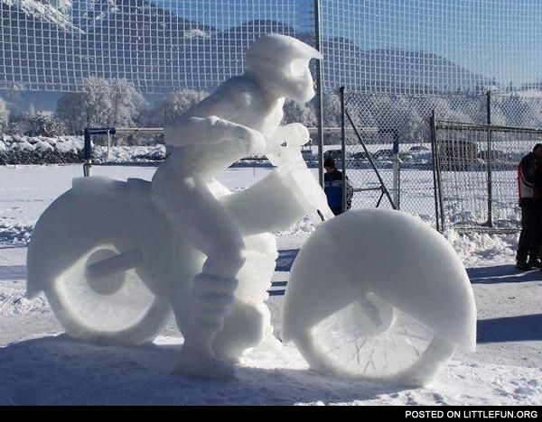 Motorcycle ice sculpture