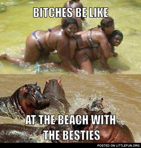 At the beach with the besties