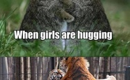 Boys and girls hugging