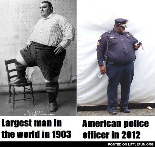 Largest man in the world in 1903 vs. American police officer in 2012