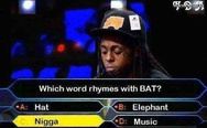 Which word rhymes with bat?