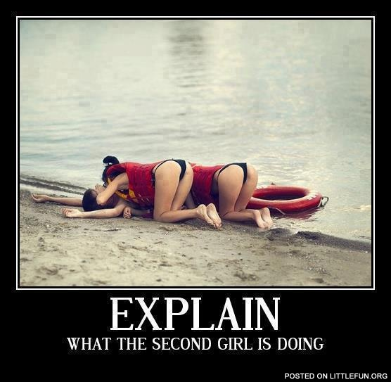 Explain what the second girl is doing