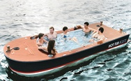 Hot tub boat. A water in the water.