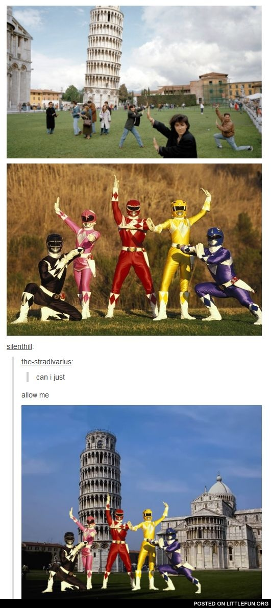 Power Rangers and Pisa Tower
