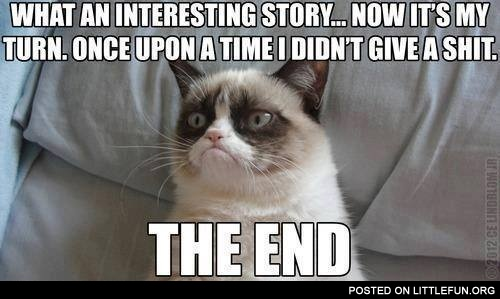 Grumpy cat loves your stories