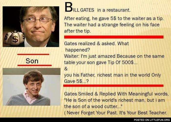 Bill Gates and his son in a restaurant