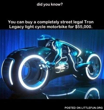 Tron Legacy light cycle motorbike