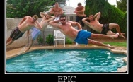 Epic jump into the pool