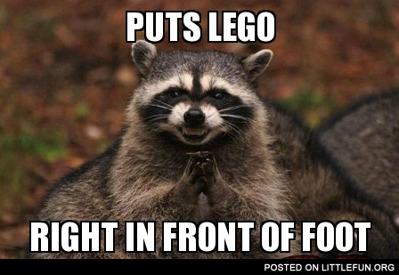 Puts lego right in front of foot