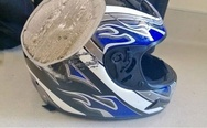 Motorcycle helmet after accident