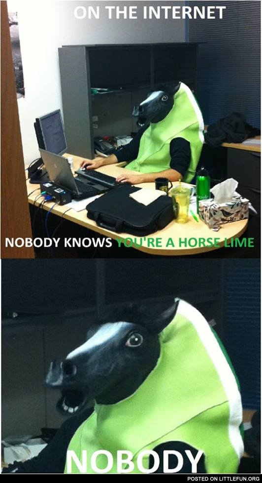 On the internet nobody knows you are a horse lime