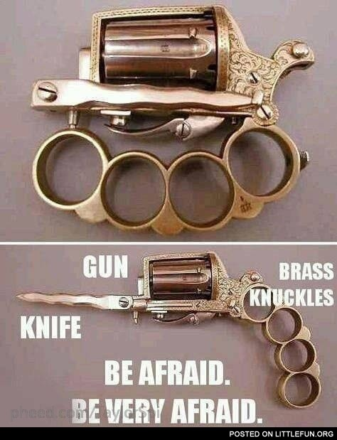 Gun, knife, brass knuckles - all in one
