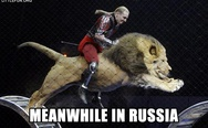 Meanwhile in Russia. Riding a lion.