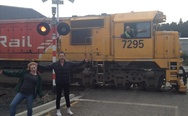 Train driver photobomb