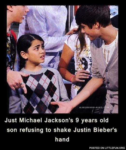 Michael Jackson's son refuses to shake Bieber's hand