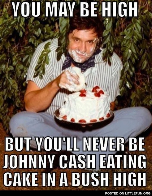 Johnny Cash eating cake in a bush