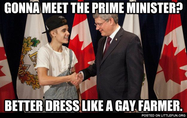 Gonna meet the prime minister? Better dress like a gay farmer
