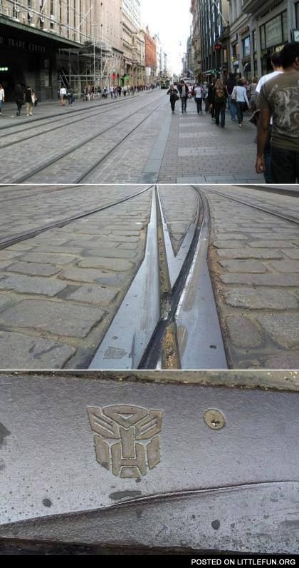 Mysterious Transformers symbols on Helsinki rails