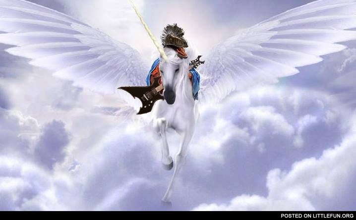 Winged unicorn with raptor