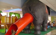 Elephant slide. Poor children.