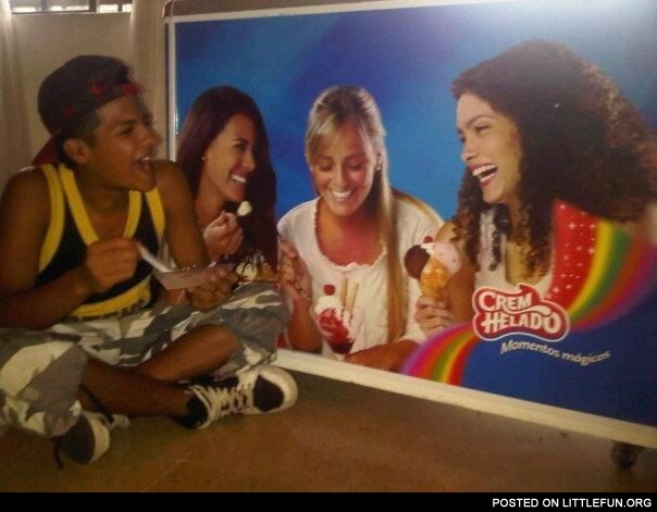 Forever alone eating ice cream with girls