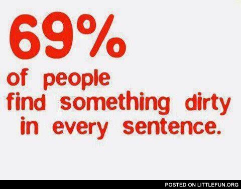 69% of people find something dirty in every sentence