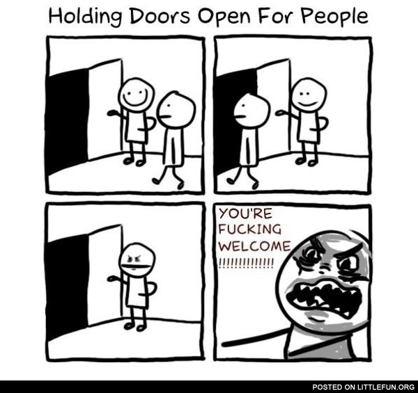 Holding doors open for people