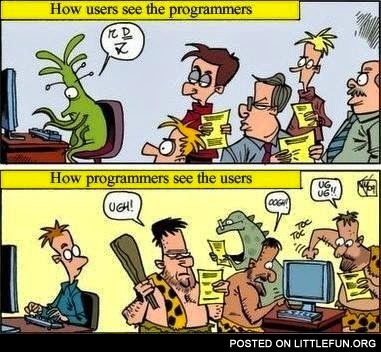 How users see the programmers and how programmers see the users