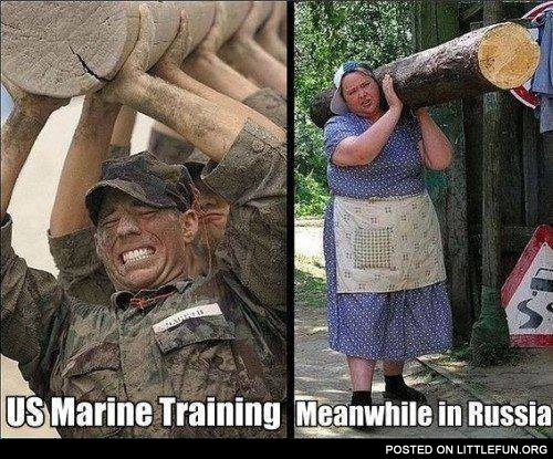 US marine training. Meanwhile in Russia.