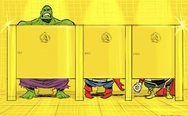 Superheroes in a toilet