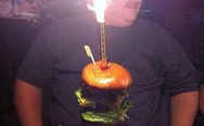 'Merica. Birthday burger with fries.