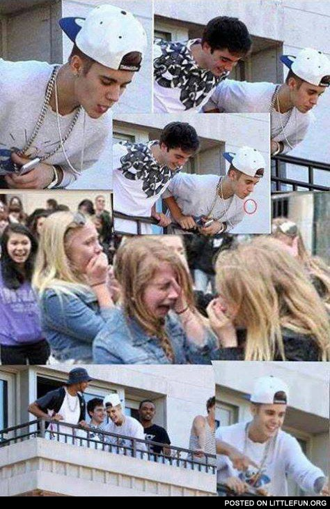 Justin Bieber spitting on his fans