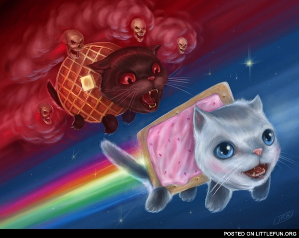 Nyan Cat vs. Tac Nayn (a.k.a. Waffle Cat) Art by J.R. Barker