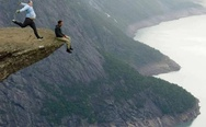 Trolltunga, Norway. Just funny photoshop.