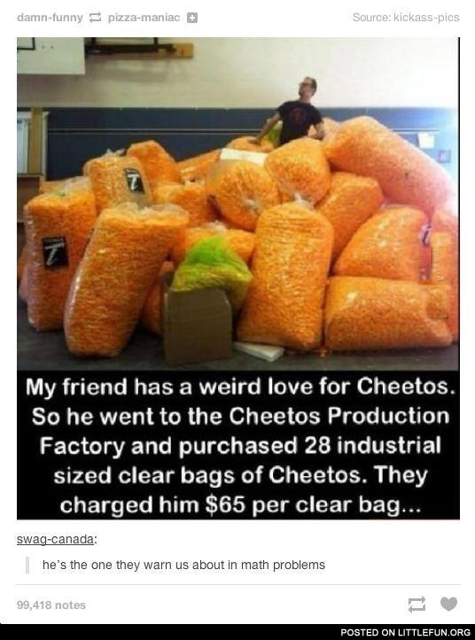 28 industrial sized clear bags of Cheetos