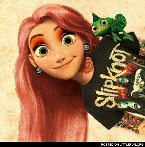 Rapunzel in a Slipknot T-shirt